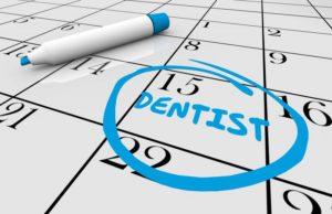 reminder for dental checkup circled on calendar